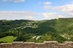 View from Bourscheid Castle in the Ardennes, Luxembourg Royalty Free Stock Photo