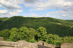 View from Bourscheid Castle in the Ardennes, Luxembourg Stock Photos