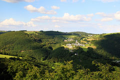View from Bourscheid Castle in the Ardennes, Luxembourg Royalty Free Stock Image