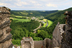 View from Bourscheid Castle in the Ardennes, Luxembourg Royalty Free Stock Photos