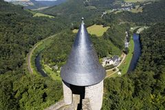 The view from Bourscheid Castle over the valley Stock Photos