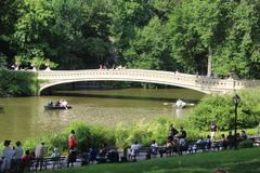 Nice view of Bow Bridge, the most romantic bridge in New York royalty free stock images