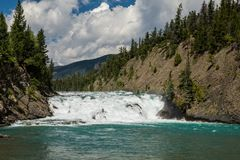 View of Bow Fall and Bow River Royalty Free Stock Photo