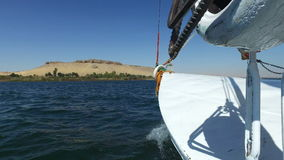 View of the bow of felucca stock video footage