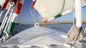 View of the bow of felucca stock video
