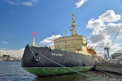 View of the bow of the icebreaker Krasin from the Lieutenant Sch Royalty Free Stock Image