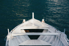 View from the bow of a wooden boat.  stock images