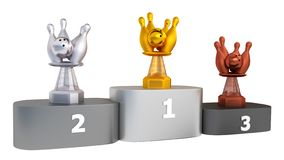 View of Bowling Trophies on Podium royalty free illustration