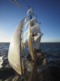 View from bowsprit, of full sails of a traditional tallship Royalty Free Stock Photos