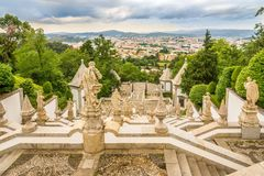 View at the Braga city from stairway Via Sacra of Bom Jesus do Monte sanctuary in Tenoes ,Portugal Stock Photo