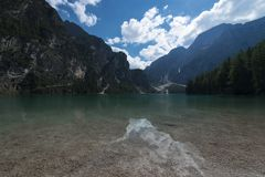 View of the Braies Lake Pragser Wildsee, also called Lago di Braies or Lake Prags in Dolomites mountains, Alto Adige, Italy. View of the Braies Lake  Pragser stock images