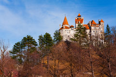 View of Bran Castle from hilltop in Transylvania Royalty Free Stock Image