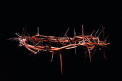 View of branches of thorns woven into a crown. Depicting the crucifixion on an isolated background Stock Photos