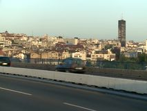 View from the Branko's Bridge in Belgrade. The Serbian capital. The bridge connects the old town and the New Belgrade overpassing the Sava River stock video