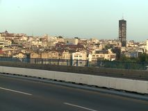 View from the Branko's Bridge in Belgrade. The Serbian capital. The bridge connects the old town and the New Belgrade overpassing the Sava River stock footage