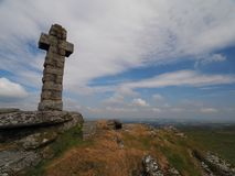 View from Brat Tor and Widgery Cross with white clouds in a blue sky, Dartmoor stock image