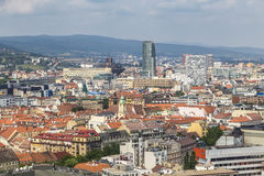 View of Bratislava with a cable-stayed bridge Stock Photography