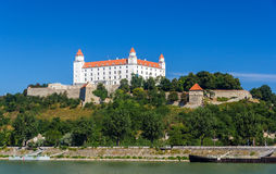 View of Bratislava Castle from the Danube river Royalty Free Stock Photos