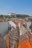 View of Bratislava Castle (founded in IX c.). Bratislava. View of Bratislava Castle (founded in IX c.) and the city from the tower of St. Michael Gate Royalty Free Stock Image