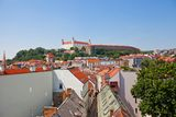 View of Bratislava Castle (founded in IX c.). Bratislava, Slovak. View of Bratislava Castle (founded in IX c.) and the city from the tower of St. Michael Gate Stock Images