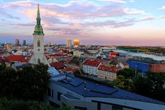 View of Bratislava city with St. Martin`s Cathedral,Slovakia. The view of Bratislava from the castle hill. In the foreground is the St. Martins cathedral, the royalty free stock images