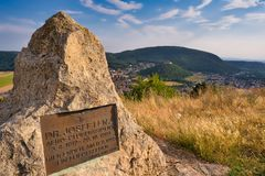 View from Braunsberg mountain in Hainburg, Austria stock photography