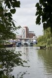 A view of Brayford Pool with student accomodation in the background, Lincoln, Lincolnshire, United Kingdom - August 2009 stock photos