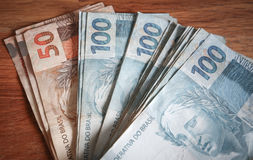 View of the Brazil money reais Royalty Free Stock Images