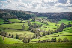 View from Breakheart Hill across Waterley Bottom near Dursley, The Cotswolds. Gloucestershire, United Kingdom stock photos