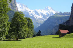 Lauterbrunnen valley with mountains Switzerland. Lauterbrunnen valley with the beautiful mountains  in Bernese Oberland, Jungfrau region in Switzerland. With Royalty Free Stock Images