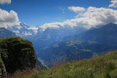 View at Breithorn seen from Männlichen. View at the mountains of the Lauterbrunnen valley, the Breithorn, seen from Maennlichen, Berner Oberland in Switzerland Royalty Free Stock Photos