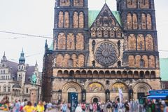 View of Bremen market square with Town Hall, Roland statue and crowd of people, historical center, Germany Royalty Free Stock Photo