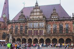 View of Bremen market square with Town Hall, Roland statue and crowd of people, historical center, Germany Stock Images