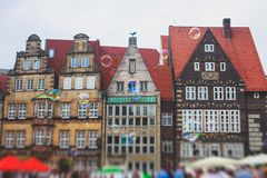 View of Bremen market square with Town Hall, Roland statue and crowd of people, historical center, Germany Stock Photos