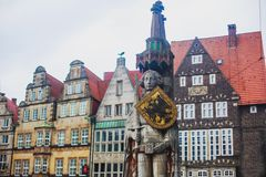 View of Bremen market square with Town Hall, Roland statue and crowd of people, historical center, Germany Stock Photo