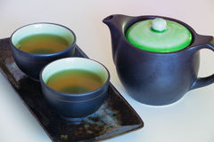 View of the Brewed and healthy Japanese green tea served in traditional hohin and shiboridashi dishes Stock Photography