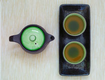View of the Brewed and healthy Japanese green tea served in traditional hohin and shiboridashi dishes Stock Photo