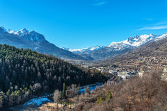 View from Briancon in Hautes Alpes, France. View over the mountains and the valley from Briancon in Hautes Alpes, France Royalty Free Stock Images
