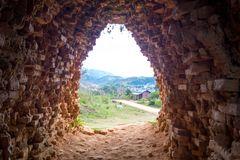 View from a brick tunnel. When exiting Royalty Free Stock Photos