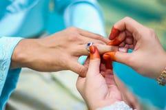 Wearing the wedding ring Stock Image