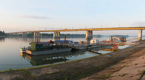 View of the bridge across the Ob River and marinas. Barnaul Royalty Free Stock Photography