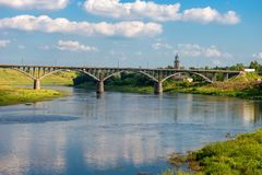 The view at the bridge across the Volga river. In the town of Staritsa, Russia Royalty Free Stock Image