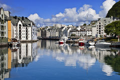 View from a bridge, Alesund old city, Norway. The sot was taken from a bridge in the center of old Alesund city, Norway Stock Images