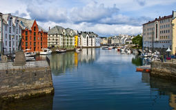 View from a bridge on Alesund old city, Norway Stock Photography