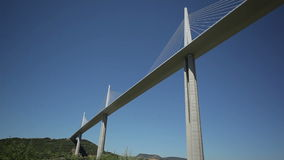 View of the bridge from below. France-Millau  July 2015. Château Creissels,  the Tarn River. Travel on the Avenue des Comtes d'Armagnac stock video