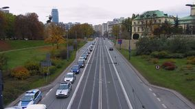 View from bridge on busy traffic on highway that leads to city center, timelapse. Stock footage stock footage