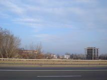 View from bridge in city periphery. Developing area in Floreasca district in Bucharest, viewed from road bridge Stock Images