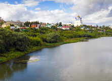 View from the bridge of the city Yelets and the river Bystraya S Stock Photography