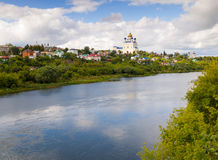 View from the bridge of the city Yelets and the river Bystraya S Royalty Free Stock Images