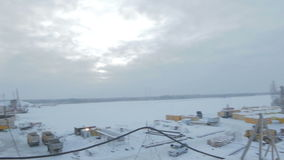 View from Bridge Construction on Arctic Landscape stock video